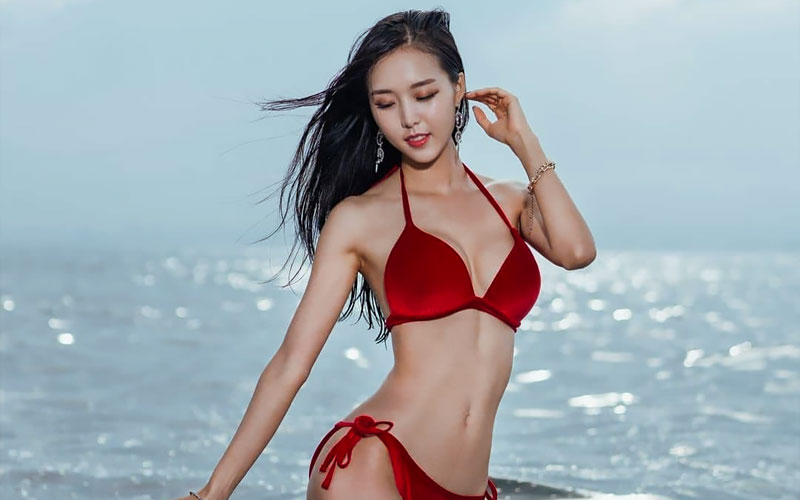 japanese bride in red swimsuit